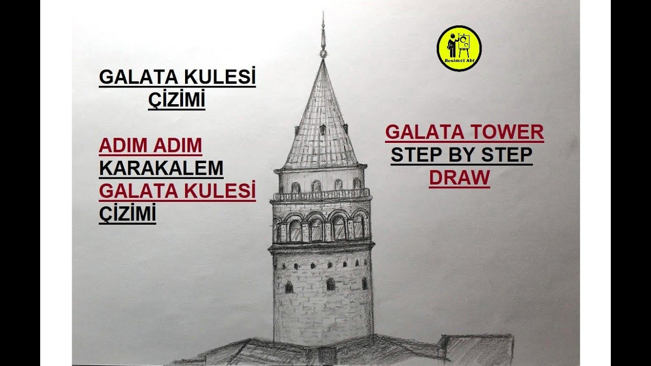 GALATA KULESİ ÇİZİMİ / ADIM ADIM KARAKALEM KOLAY GALATA KULESİ ÇİZİMİ