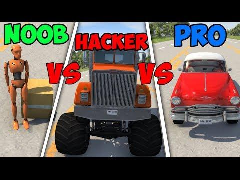 BeamNG Drive - Noob VS Pro Vs Hacker #6 (Crashes & Stunts)