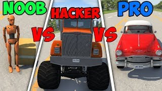 BeamNG Drive - Noob VS Pro Vs Hacker #6 (Crashes & Stunts)