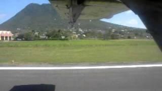 small plane landing in st. eustatius