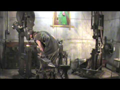 Artist Blacksmith Matt Waldrop making iron handles on Clay Spencer tire hammer - YouTube