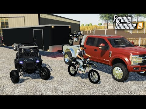 KTM DIRTBIKE & POLARIS RAZOR IN FARMING SIMULATOR! HAULING TOYS TO THE TRACK & RACING thumbnail