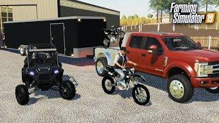 KTM DIRTBIKE & POLARIS RAZOR IN FARMING SIMULATOR! HAULING TOYS TO THE TRACK & RACING