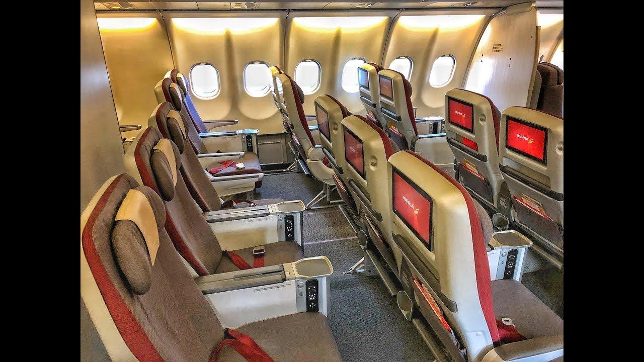 Iberia Premium Economy   Airbus A340 600   LHR-MAD - YouTube