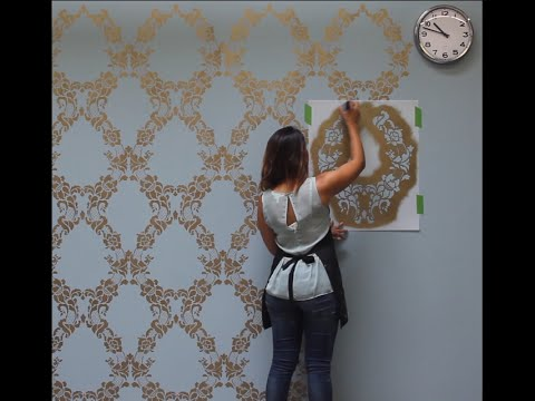 how to stencil a feature wall in only an hour youtube - Design Stencils For Walls