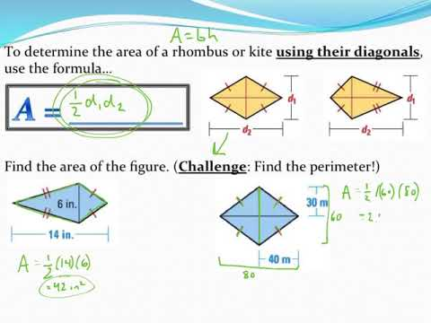 Calculating the area and perimeter of rhombuses and kites youtube calculating the area and perimeter of rhombuses and kites ccuart Images