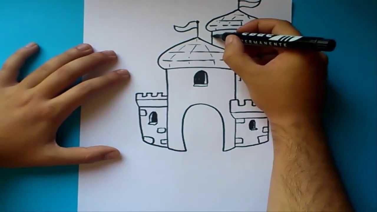 Como dibujar un castillo paso a paso 2 | How to draw a castle 2 ...