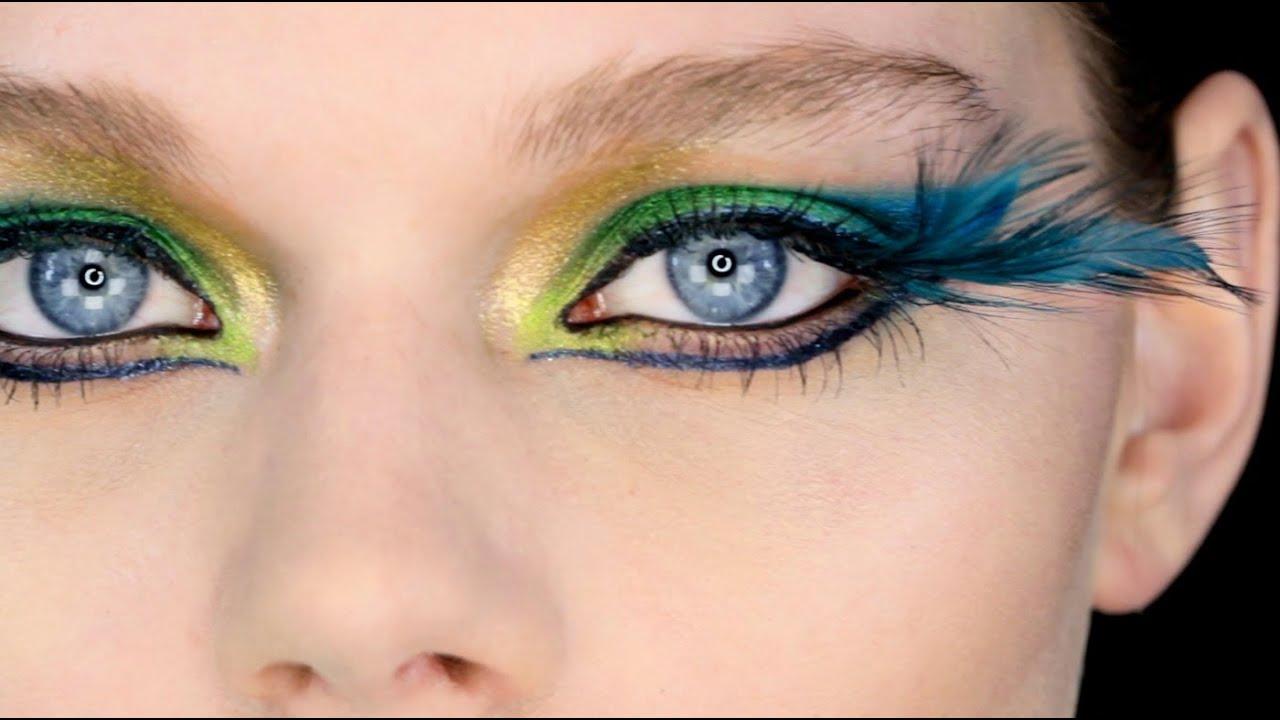 Showgirl / Fantasy Peacock Eye Makeup Tutorial - YouTube Peacock Fantasy Makeup