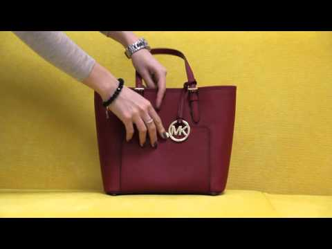 20bc6a4dbad9 Michael Kors Cherry Red Saffiano Leather Jet Set Item Medium Snap Pocket  Tote - YT