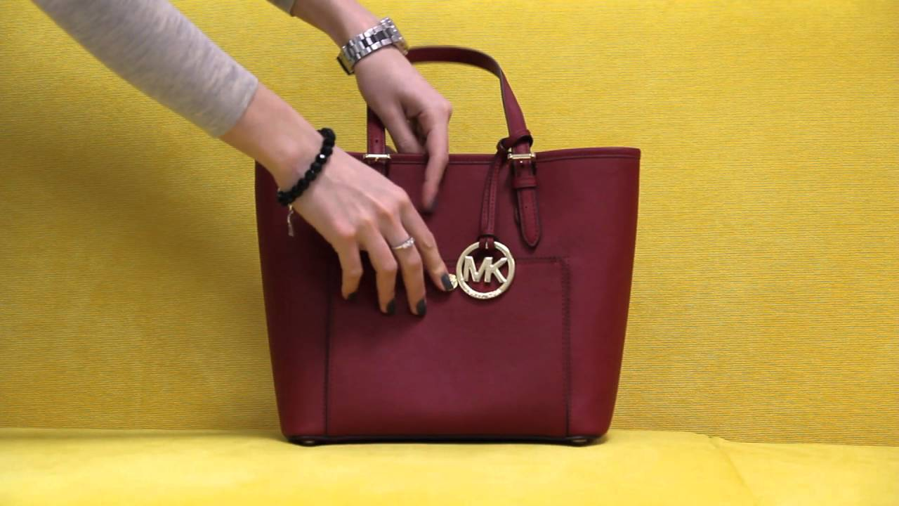 c0bd036757db57 Michael Kors Cherry Red Saffiano Leather Jet Set Item Medium Snap Pocket  Tote