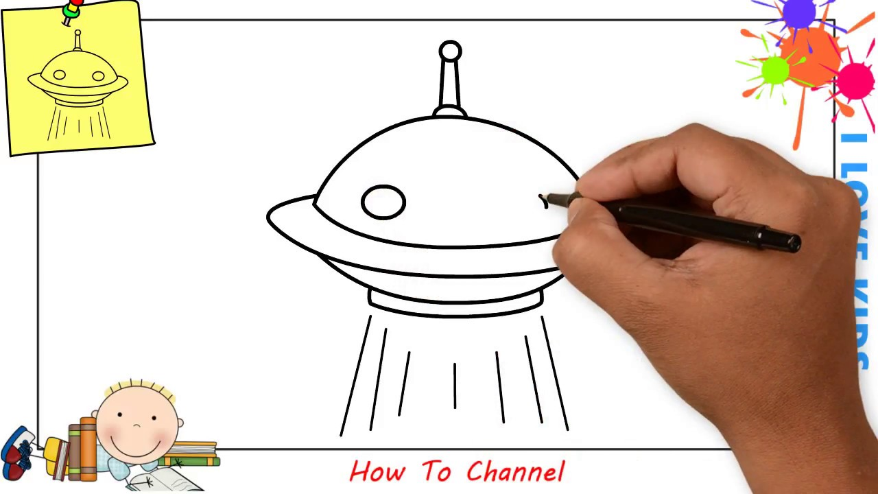 How To Draw A Ufo Easy Step By Step For Kids Beginners Children 2