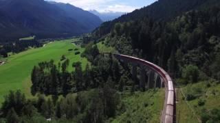 Landwasserviaduct by drone (UNESCO world heritage) / Landwasserviadukt Drohne