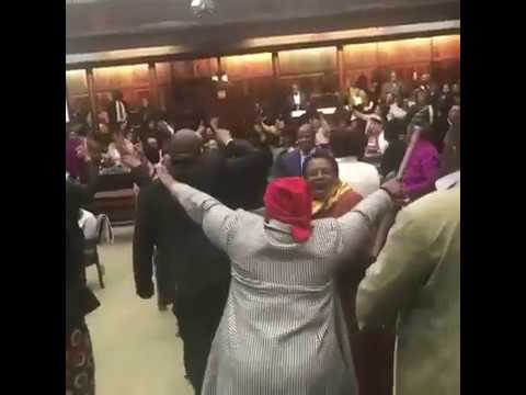 ANC Parliament Caucus Singing ahead of Cyril Ramaphosa's Election as President of South Africa