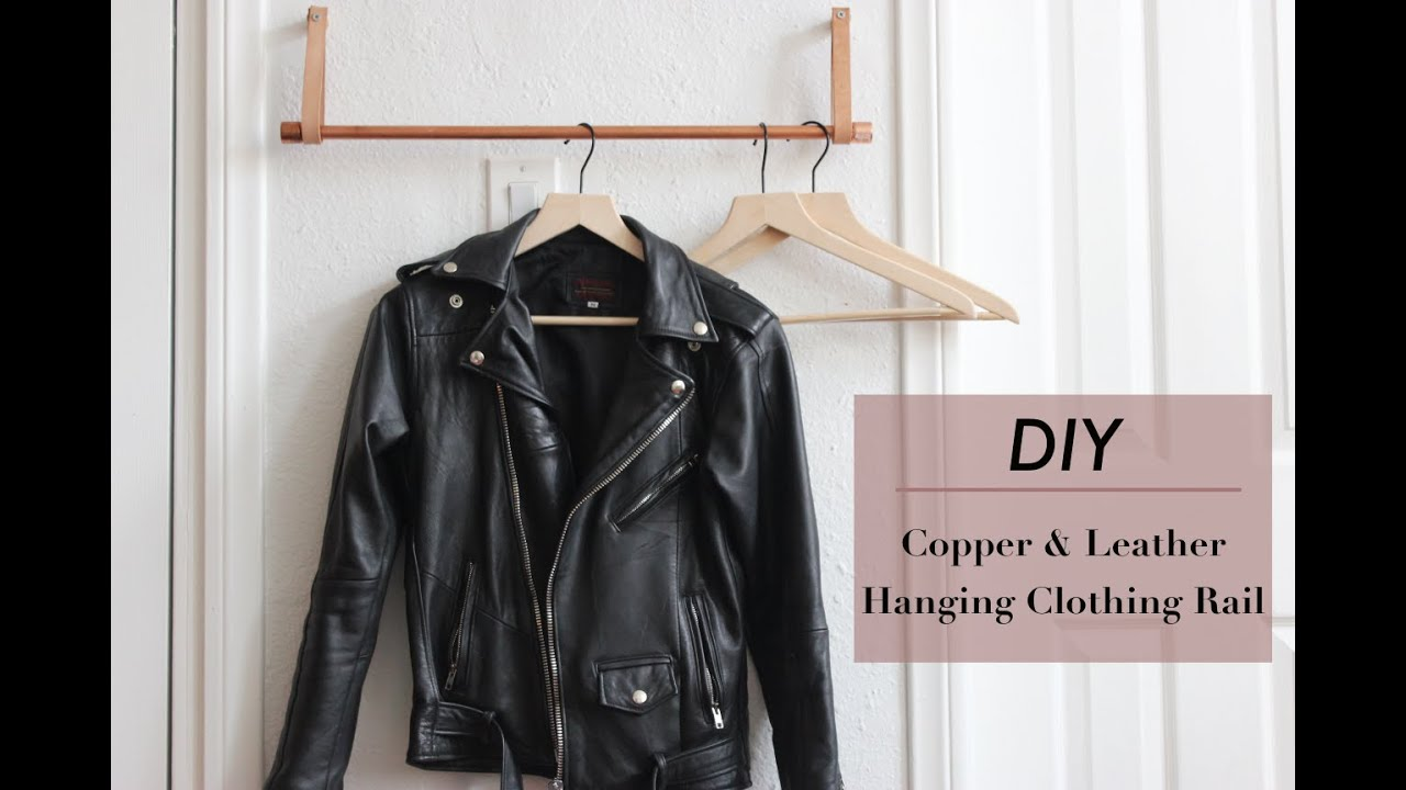 Diy Copper And Leather Hanging Clothes Rack Hometohem By