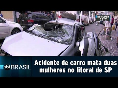 Acidente de carro mata duas mulheres no litoral de São Paulo | SBT Brasil (23/07/18)