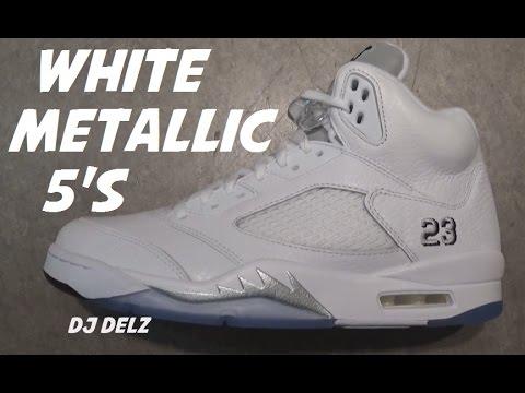 wholesale dealer d6e4e 10c20 Air Jordan 5 White Metallic Silver 2015 Retro Shoe HD Review With @DjDelz