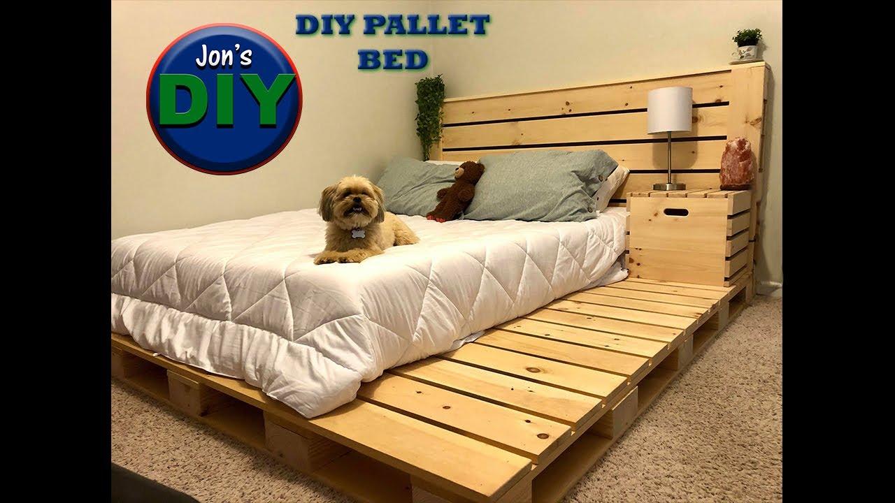 Diy Pallet Bed Night Stand Jon S Diy Youtube