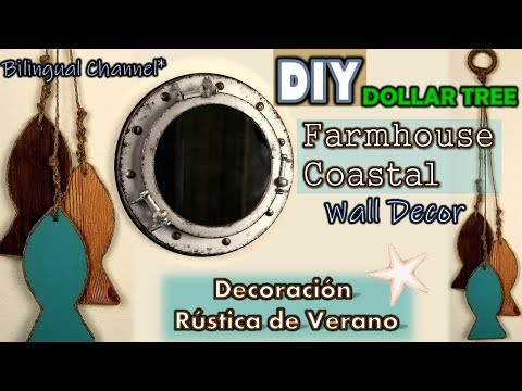 Dollar Tree DIY | Rustic Coastal Wall Decor | SUMMER CRAFTS WEEK 1/5 | English CC
