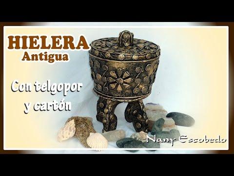 HIELERA ANTIGUA CON TELGOPOR Y CARTÓN