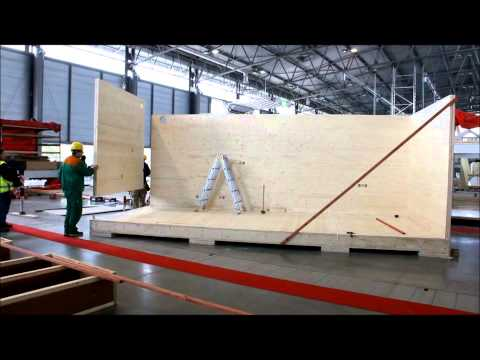 Live construction of a mobile passive wooden house at the IBF Fair 2012