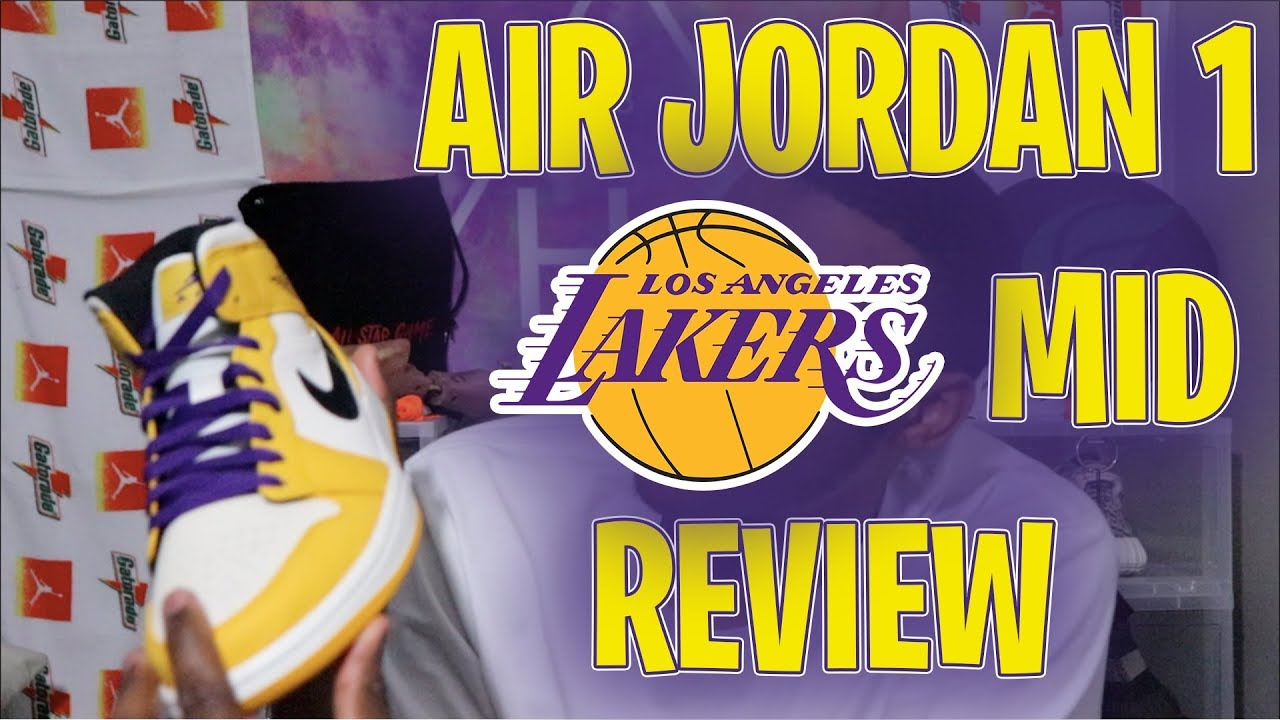 8511845be95464 AIR JORDAN 1 LAKER MID IN HAND REVIEW - YouTube
