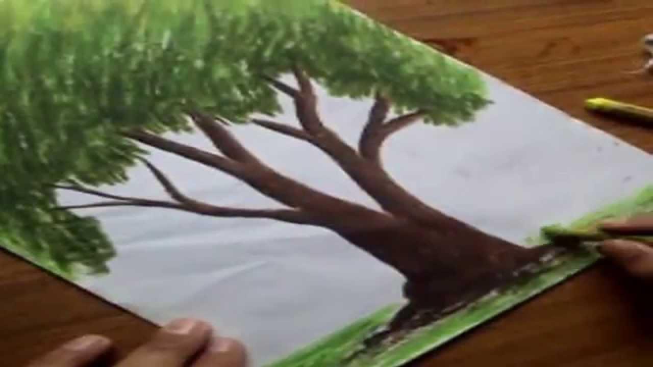 Rainbow landscape original oil pastel drawing - Rainbow Landscape Original Oil Pastel Drawing 56
