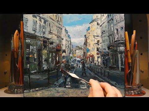 In the City – Palette Knife Oil Painting – Wet on Wet – Street Walk Shopping Home – Dusan