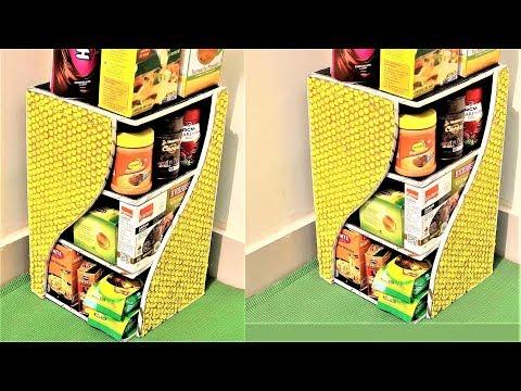 DIY Kitchen Rack Using Bubble Wrap & Cardboard / Shelf / Multi Purpose Organizer / Best out of waste