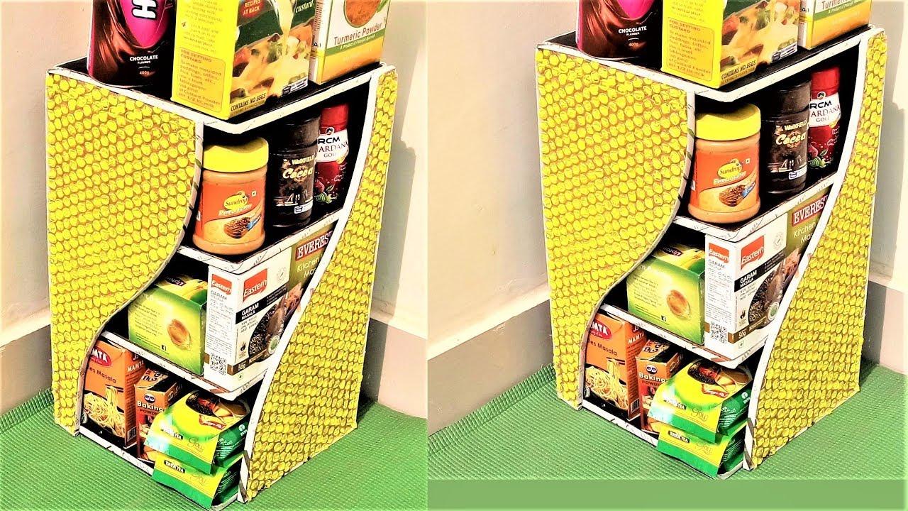 Diy Kitchen Rack Using Bubble Wrap Cardboard Shelf Multi Purpose Organizer Best Out Of Waste