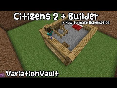 Minecraft Bukkit Plugin - Citizens 2 + Builder - NPC Auto Build Schematics