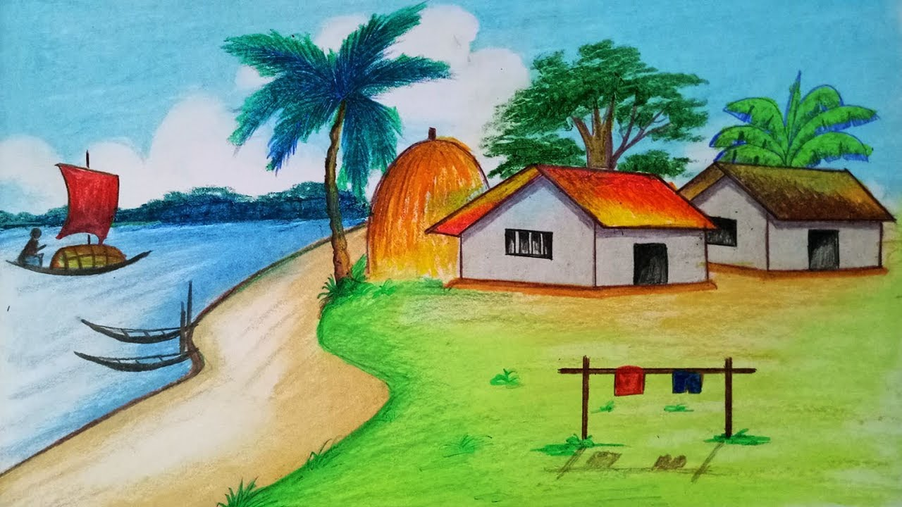 How To Draw Simple Village With Oil Pastel Step By Step Easy Draw