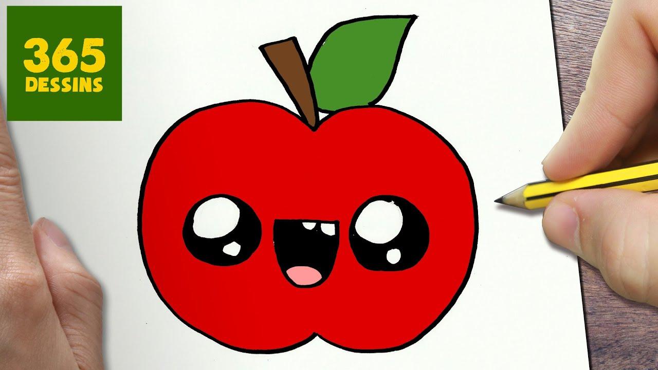 Comment dessiner pomme kawaii tape par tape dessins - Dessin pomme apple ...