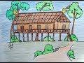 Cara CEPAT dan MUDAH Menggambar Rumah Adat Lamin Kalimantan Timur