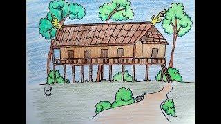 Cara Cepat Dan Mudah Menggambar Rumah Adat Lamin Kalimantan Timur Cute766