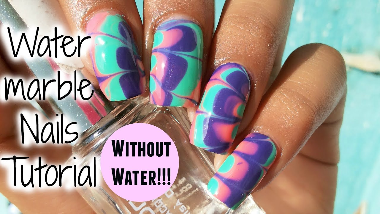 No Water Needed Watermarble Nail Art Tutorial Youtube