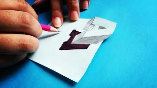 3D Letter A - How to Draw 3D Letter A Trick Art Drawing- Very Easy & simple!