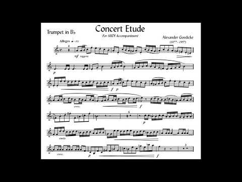 ♫♬ Goedicke - Concert Etude for Trumpet and Piano [Accompaniment + Scores] Play Along