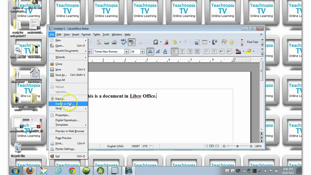 Pdf Libre How To Export Save File From Libre Office To A Pdf