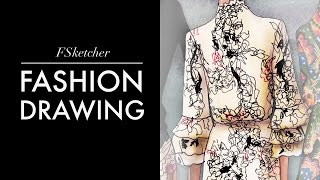 Floral Embroidery on Silk Dress VALENTINO | Fashion Drawing