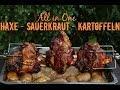 Haxen vom Grill mit Sauerkraut und Kartoffeln - All in One Gericht