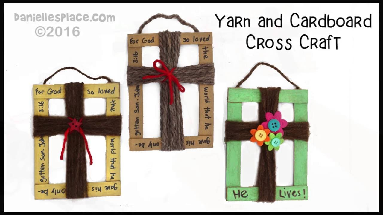Cardboard and yarn cross craft youtube for Cross craft for kids