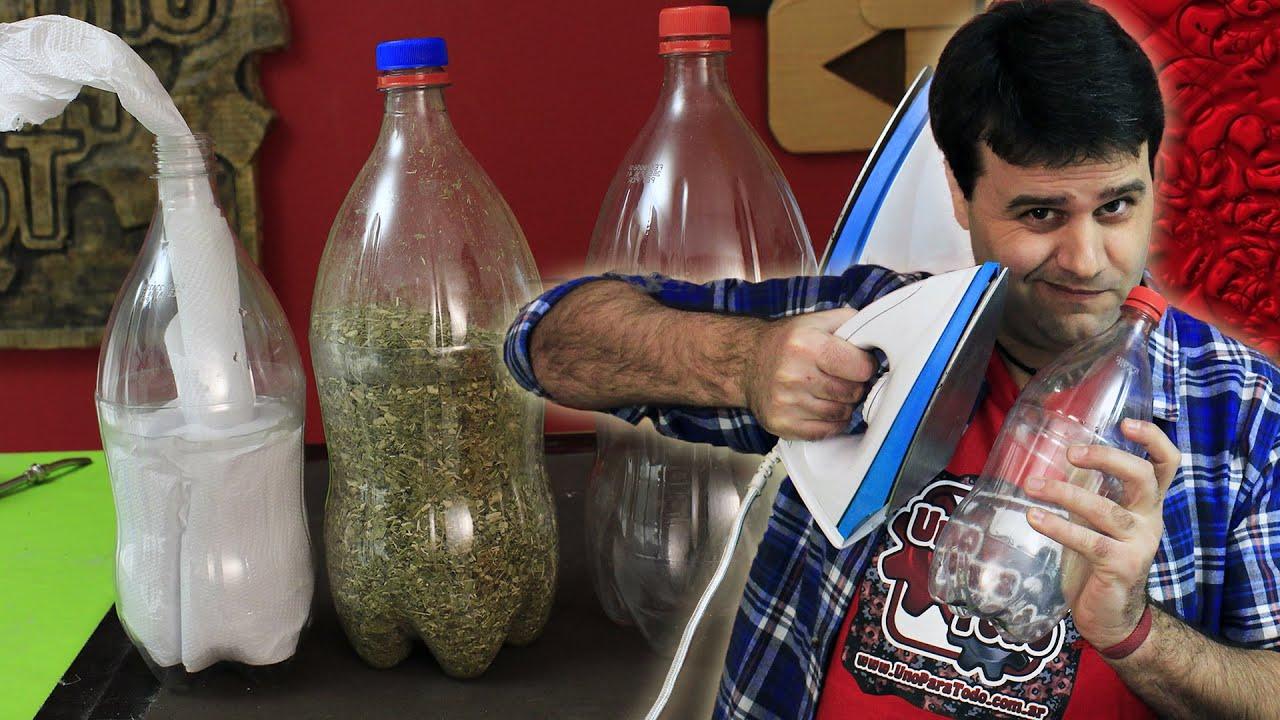 Ideas para reciclar botellas con una plancha - YouTube