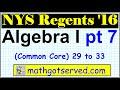 January 2016 NYS Algebra 1 Common Core Regents Part 7 29 to 33 New York Examination  solutions