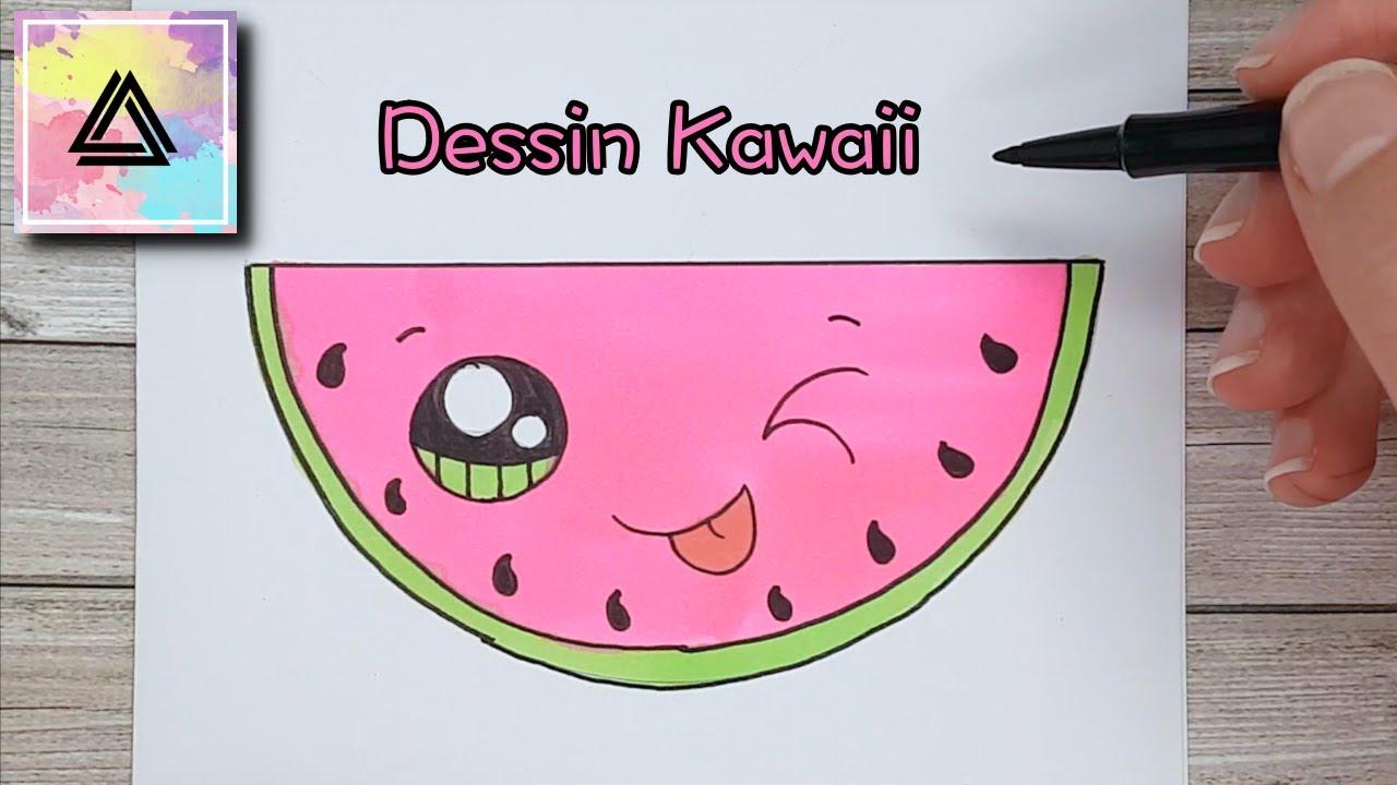 Tutoriel de Dessin : Comment dessiner une pastèque kawaii ...