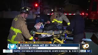 Elderly man struck by trolley train