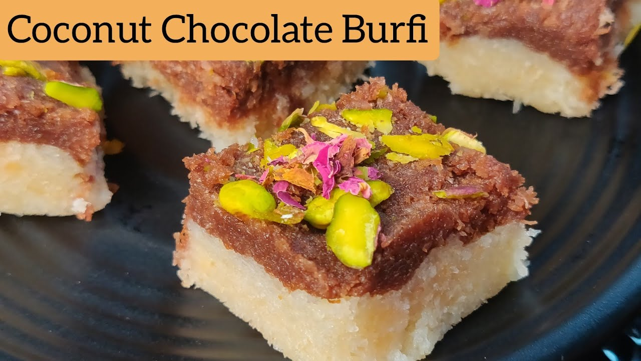 3 Ingredients Coconut Chocolate Burfi | Raksha-Bandhan Special Sweets | Burfi in 10 minutes |