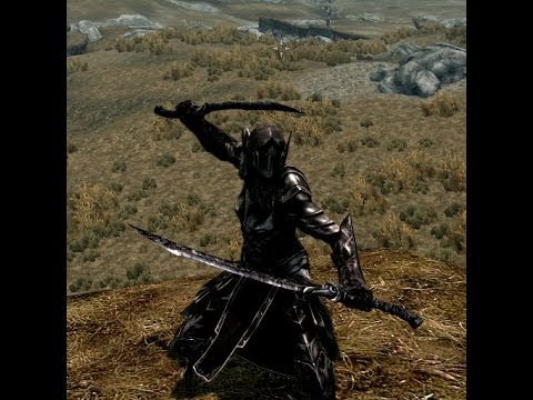 Skyrim: with Mods, Silver Armor & Dual Wield 2 Handed Weapons mod