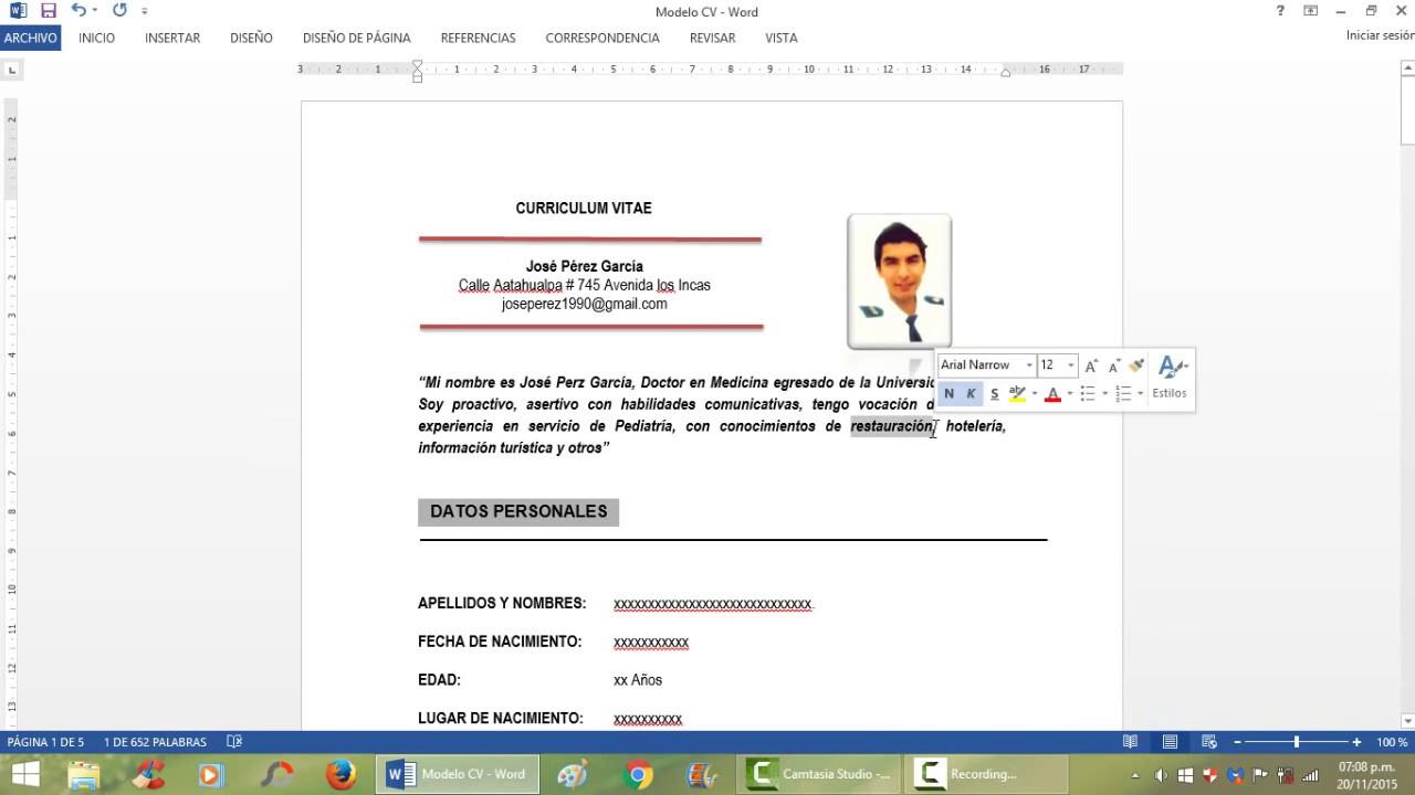 Curriculum Vitae 2018 Paso A Paso Facil Y Rapido Descarga
