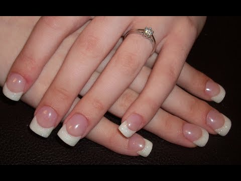 Acrylic Nail Tutorial White Glitter Tips Hollysamanthaasnails