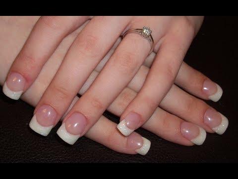 acrylic nail tutorial - white glitter
